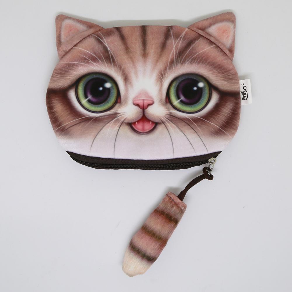 猫しっぽポーチコインケース(猫顔としっぽ)キジトラ