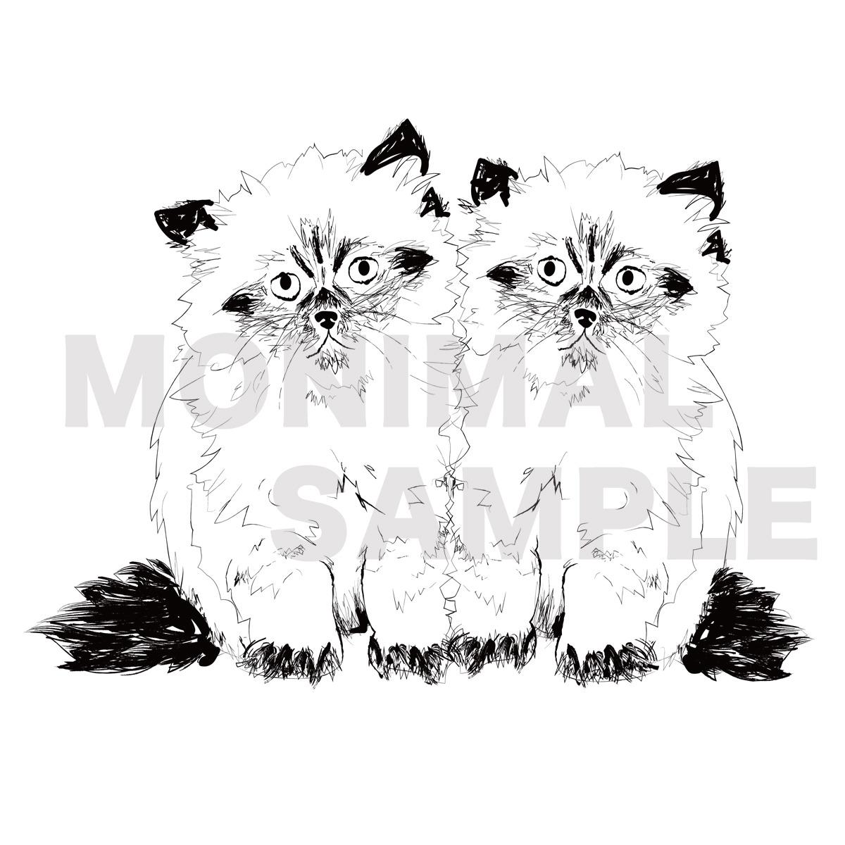 ペンイラスト猫エコバッグ【pen cat 2匹の猫】 | 猫グッズ・猫雑貨通販