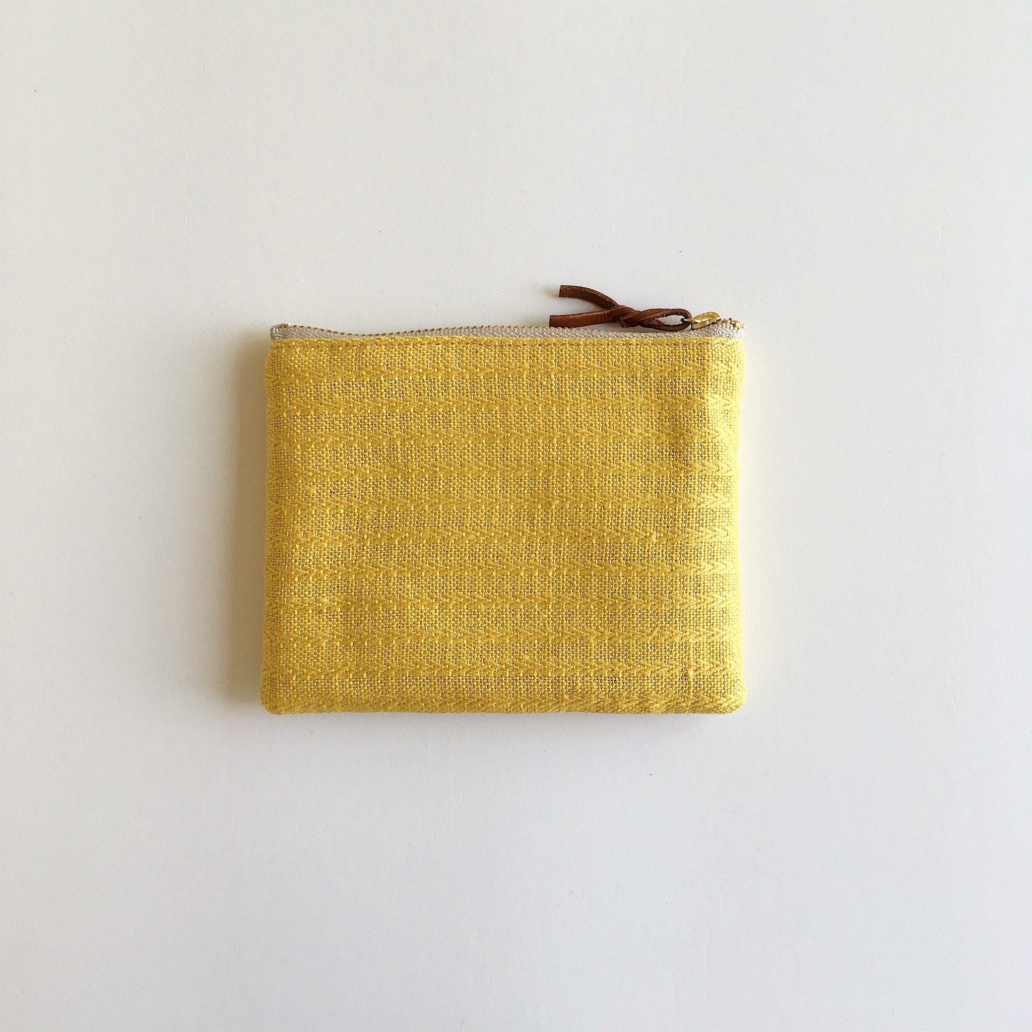 手織りミニポーチ(Accessory case 14cm Yellow Alinea)