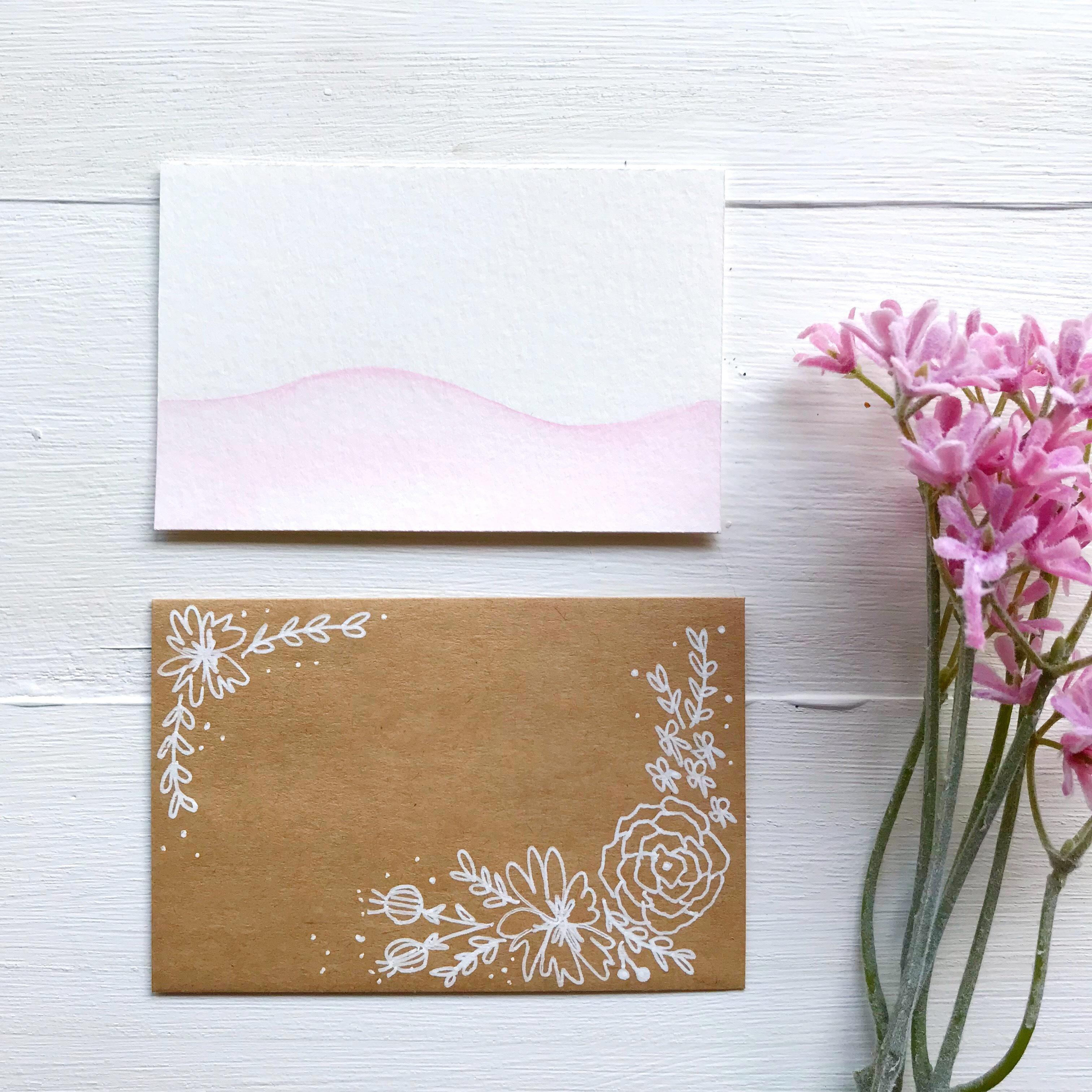 ミニカード(ピンク・封筒付き)