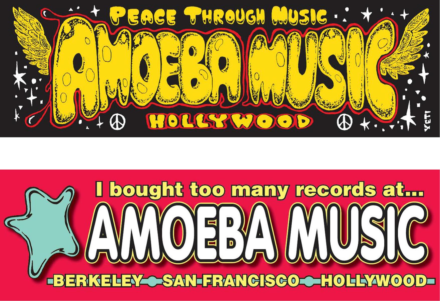 品番0280 Amoeba Music アメーバミュージック 『HOLLYWOOD ハリウッド』 バンパーステッカー シール アメリカン雑貨 新品雑貨