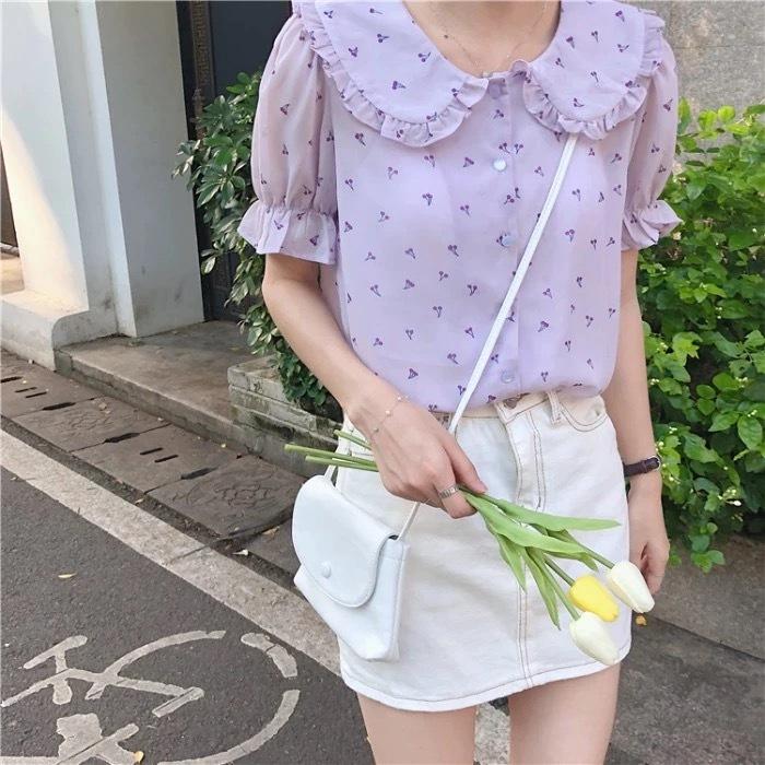 【即納】サマーベビードールシフォンシャツ