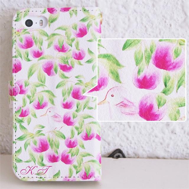 *名入れ*手帳型スマホケース【Clear Peach!(桃と鳥のパターン)】iPhone&Android