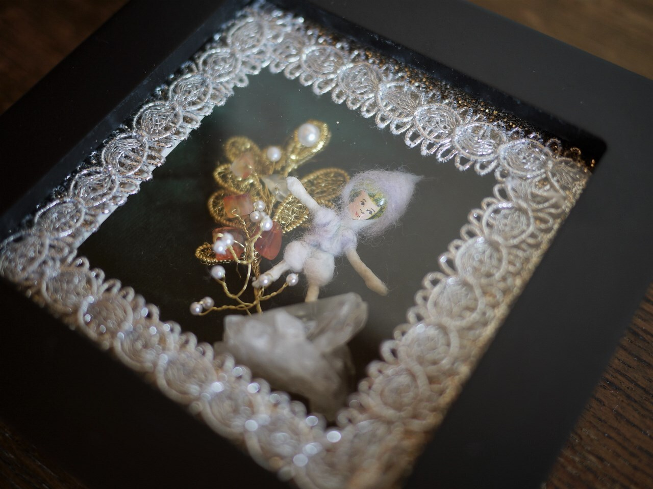 小人が水晶を見つけたら ドイツ伝統工芸 綿人形