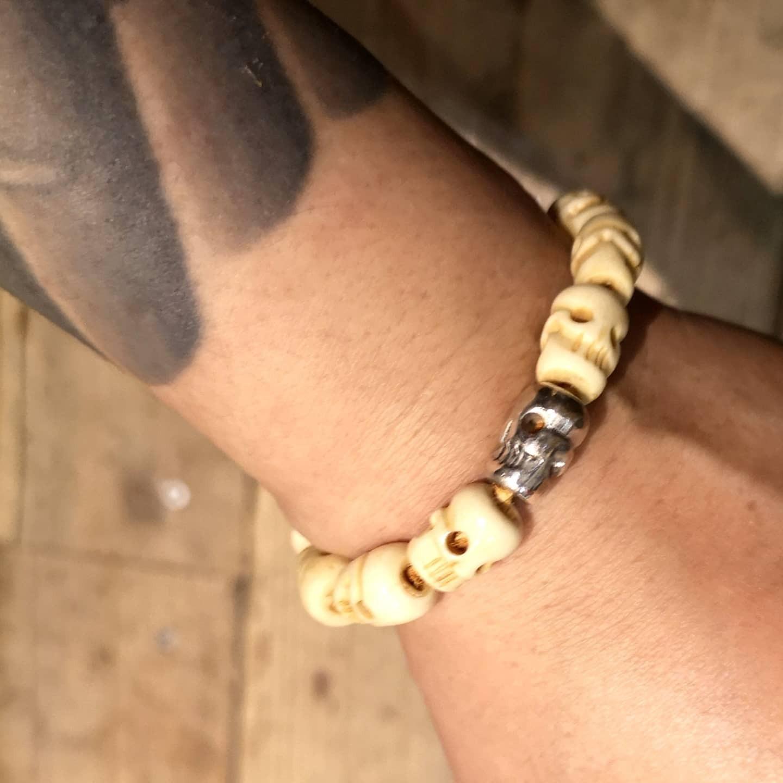 Tibetan Skull Beads and Silver Bracelet