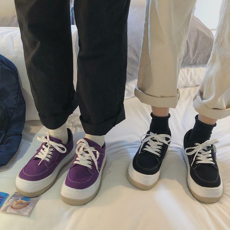 【送料無料】 カジュアルシューズ♡ 厚底 シンプル キャンバスシューズ スニーカー 靴 丸トゥ レースアップ