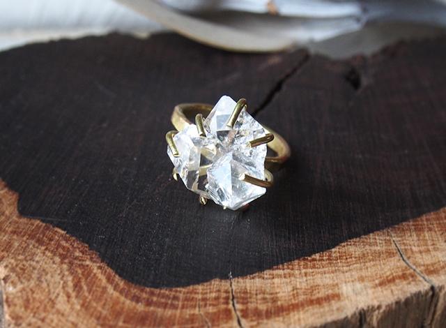 W様オーダー 原石のハーキマーダイヤモンドのリング