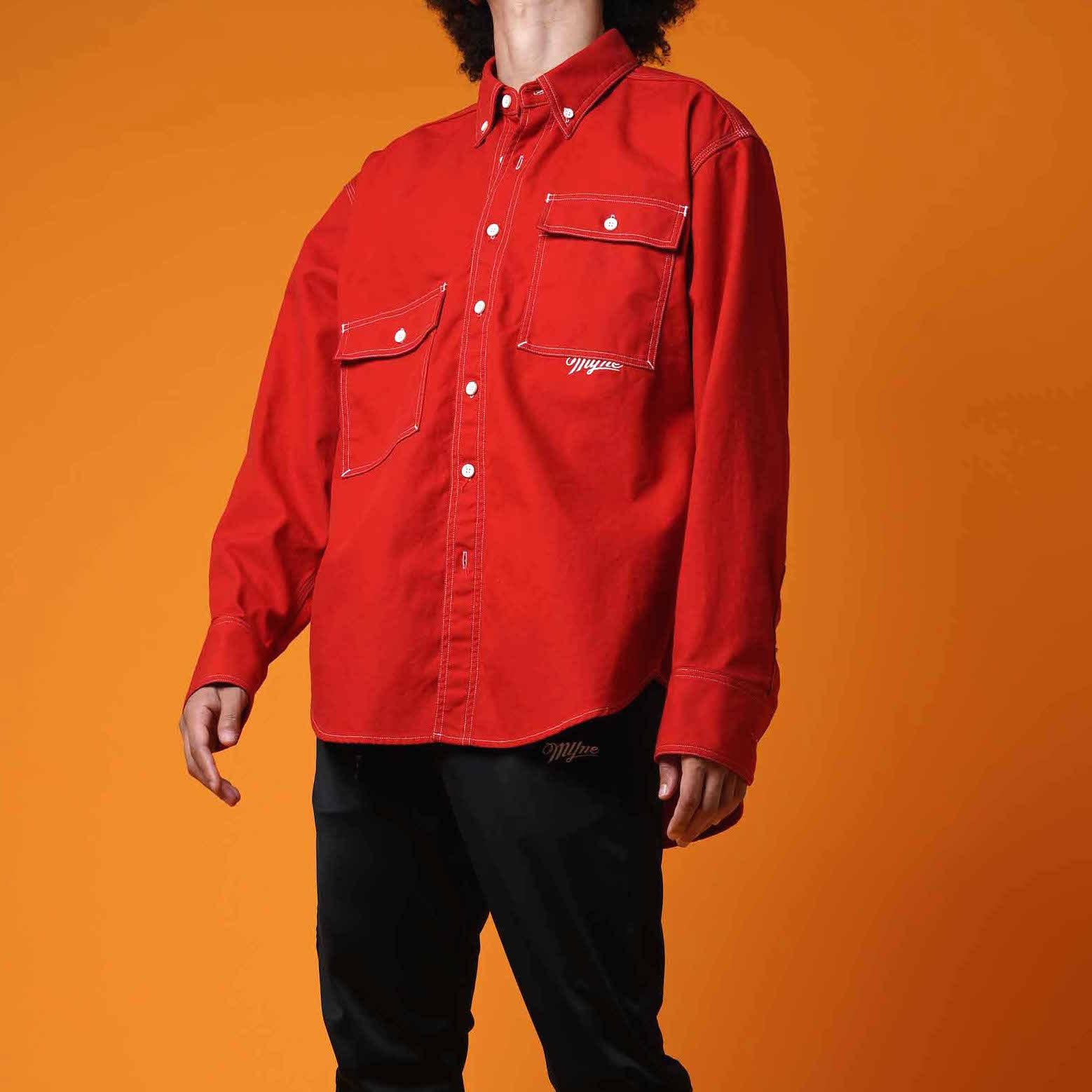 OVER SIZE SHIRT / RED - 画像4