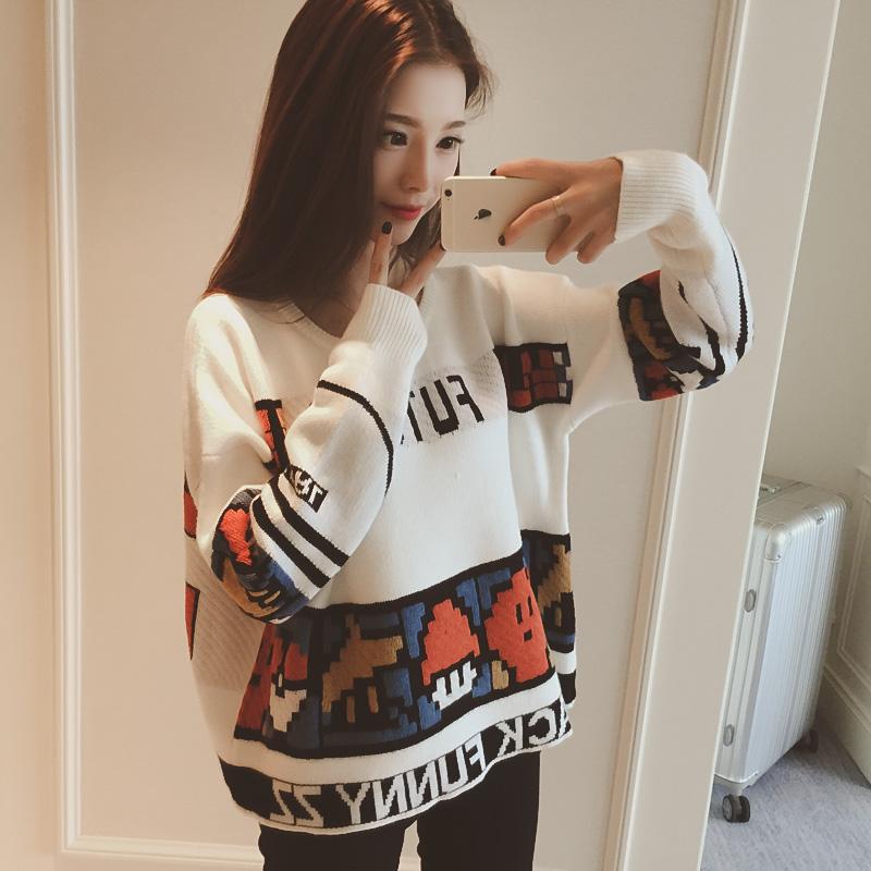 【tops】 ファッション配色プリントセーター23282669
