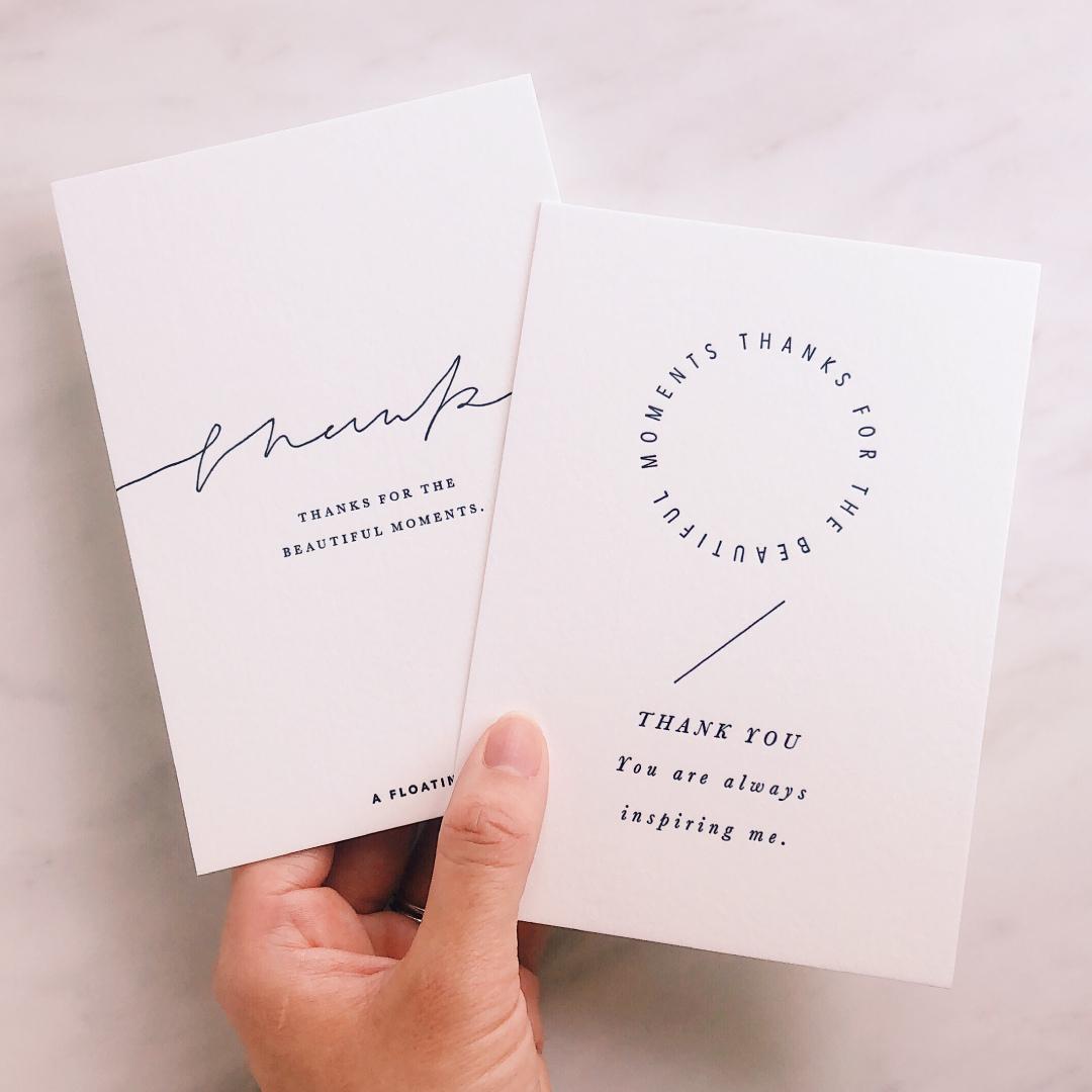 活版印刷のポストカード/ サンキュー2枚セット