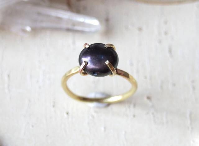 [一点物]ブラックパールのリング