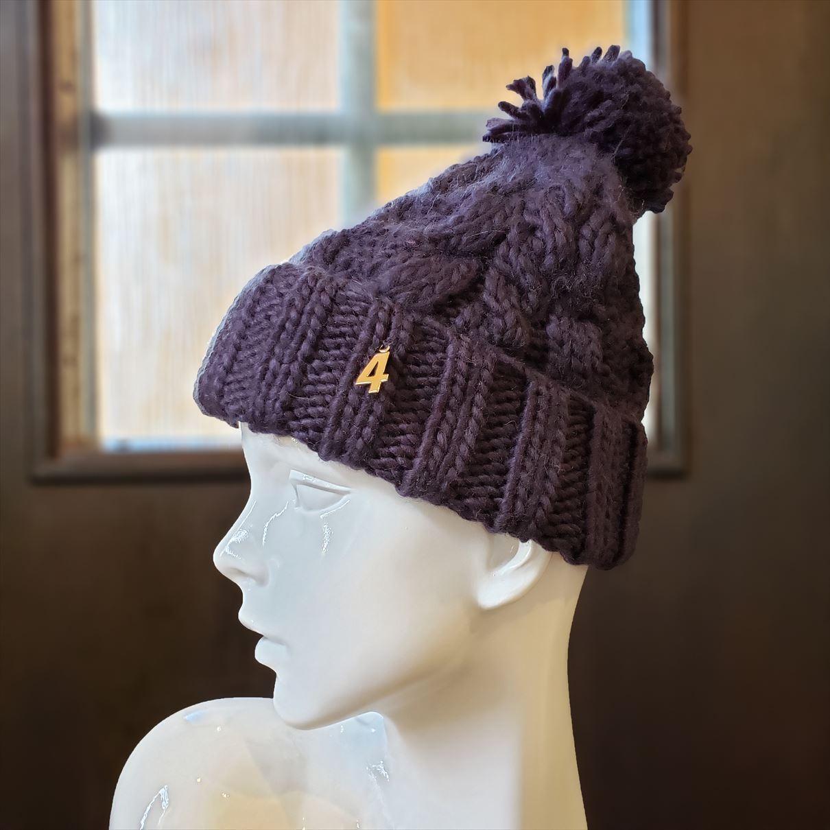 ナンバーニット帽(ネイビー)