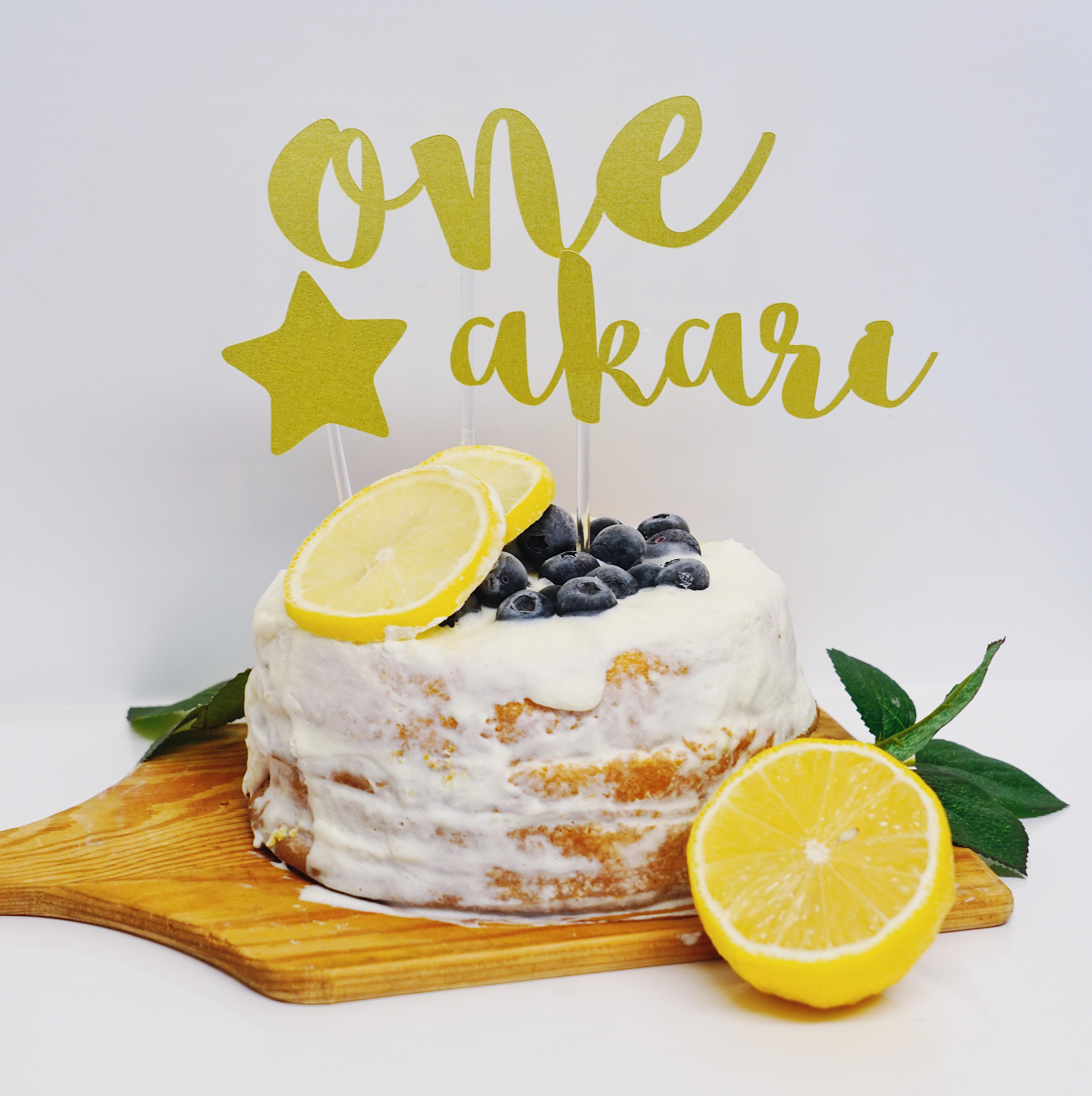 バースデーケーキトッパー(L・シャンパンゴールド・名前付き)誕生日 飾り付け