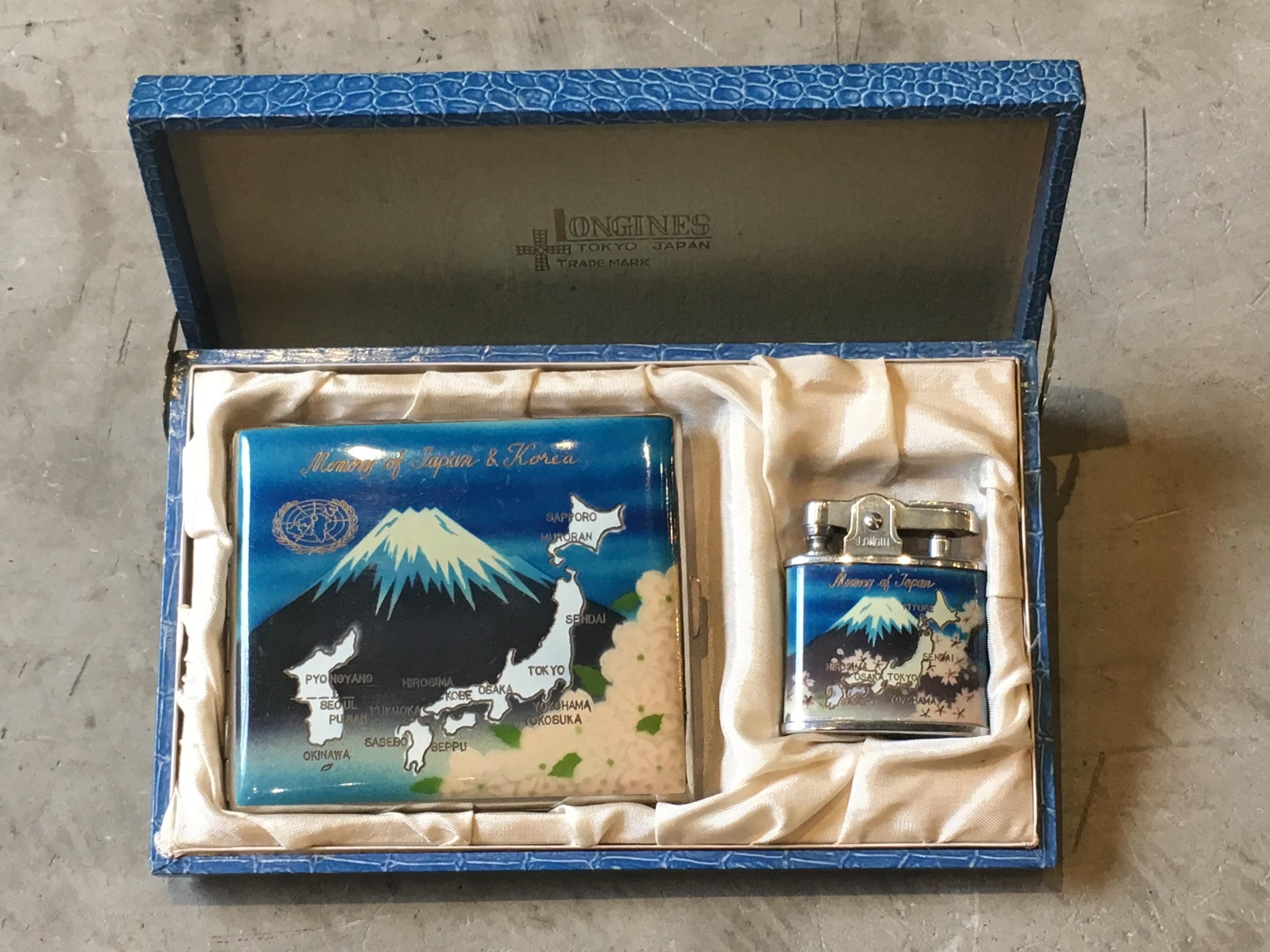 1950's JAPAN SOUVENIR CIGARETTECASE & LIGHTER SET