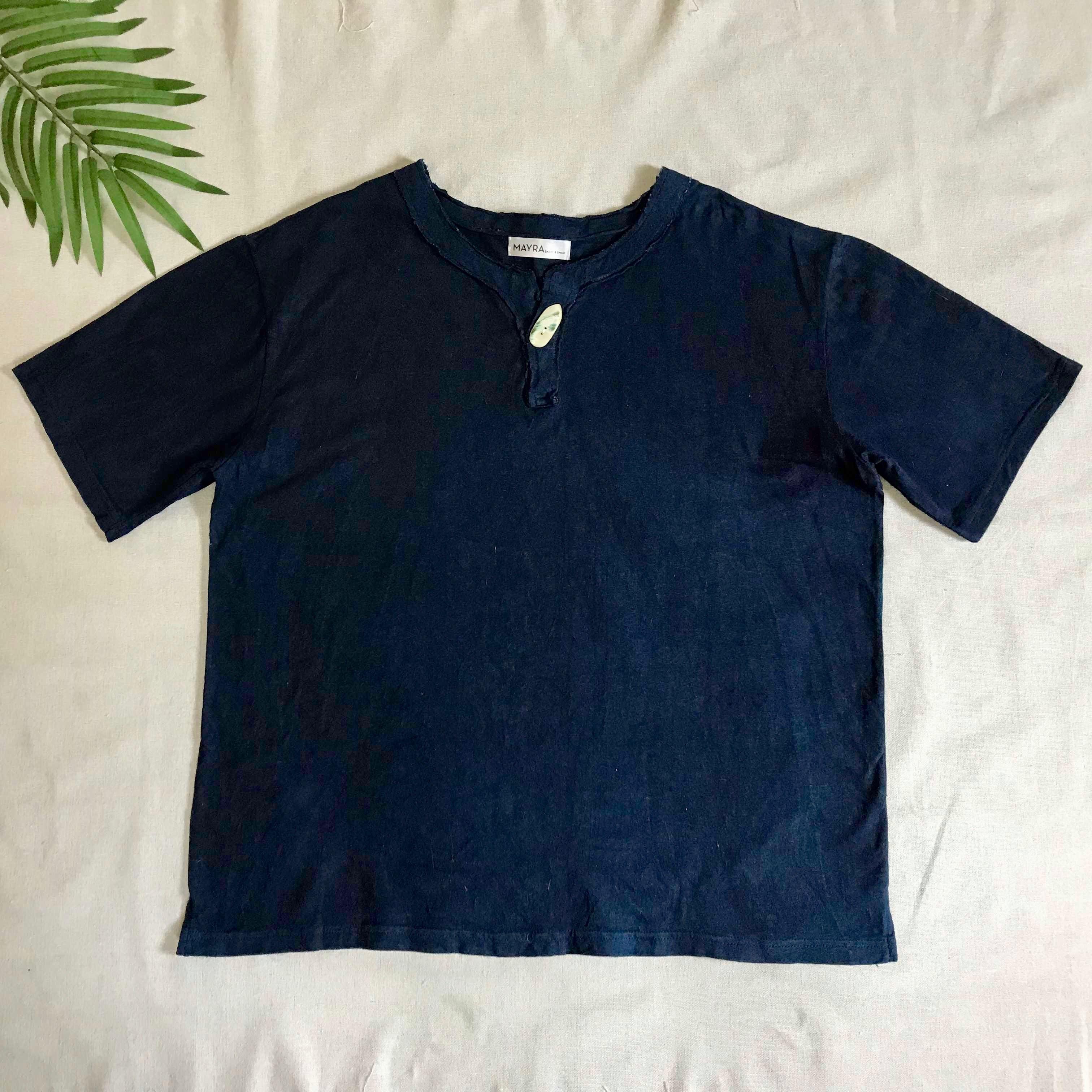 【お得!メンズ半袖Tシャツ】ヘンプコットン 藍染・夜光貝ボタン付