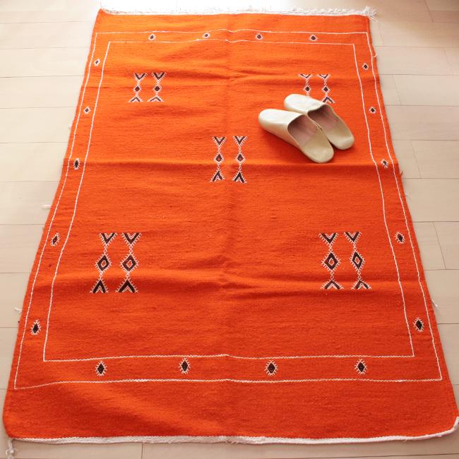 モロッコ刺繍ラグ / Orange /181a/ MOROCCO