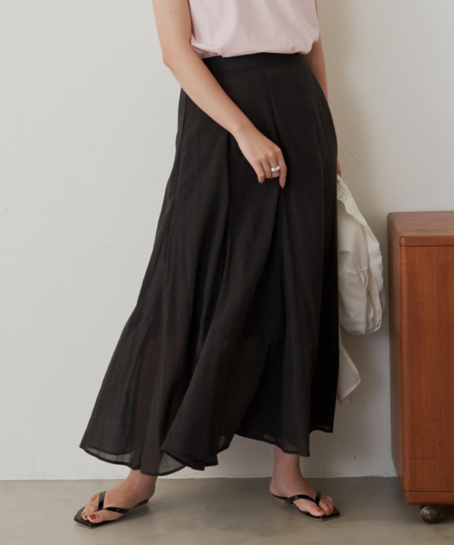 コットンフレアラインスカート/BLK