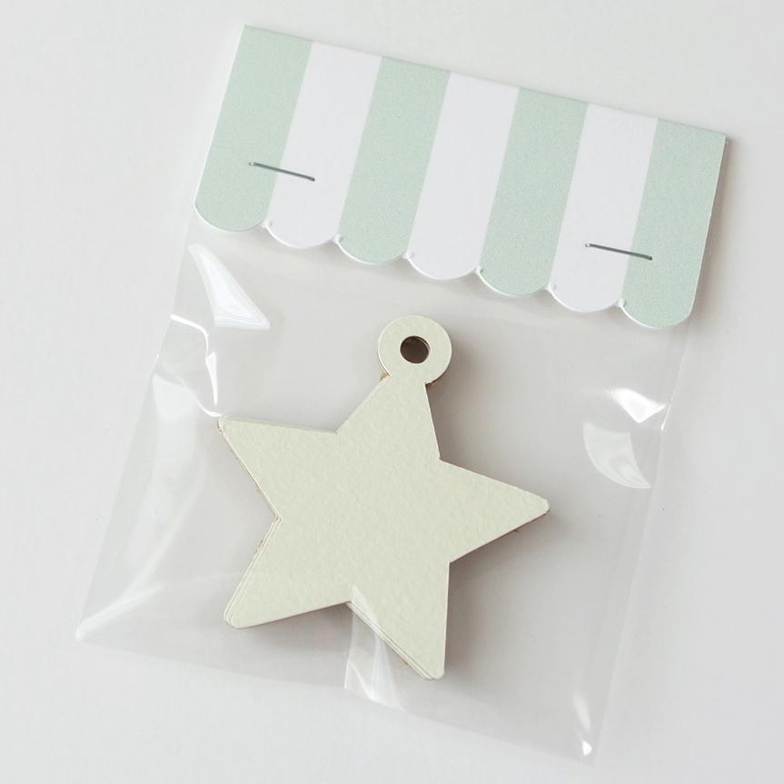 星型タグ  きなりの白とクラフトのリバーシブル紙 10個入