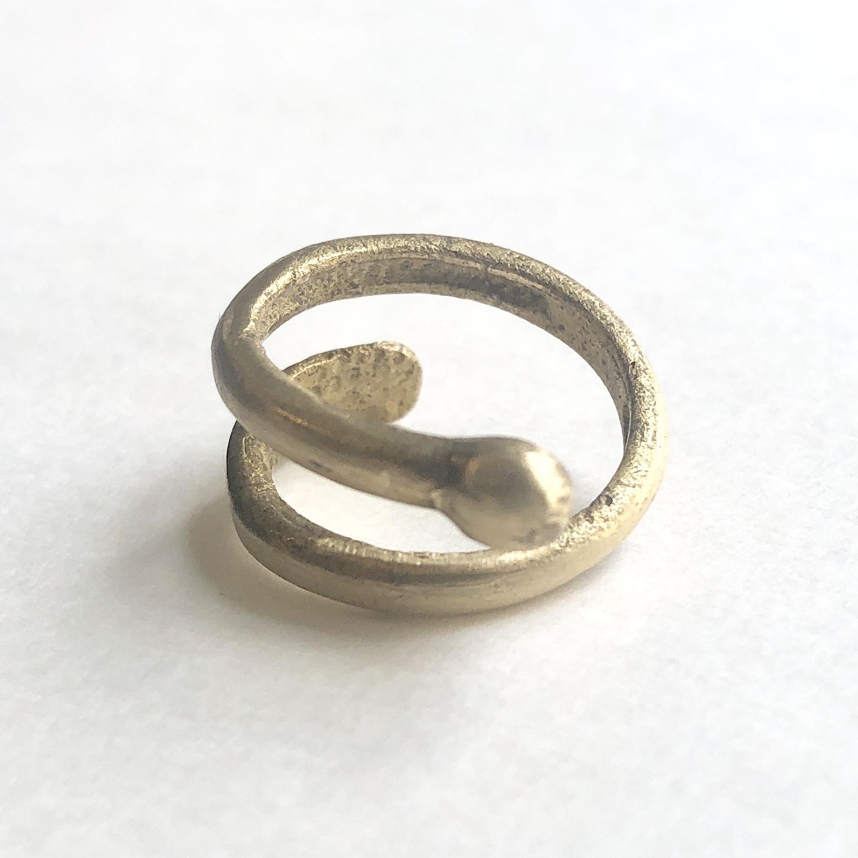 Raw brass Rings -  spiral リング RG-028