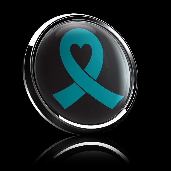 ゴーバッジ(ドーム)(CD0982 - TEAL RIBBON BLACK (OVARIAN CANCER)) - 画像4