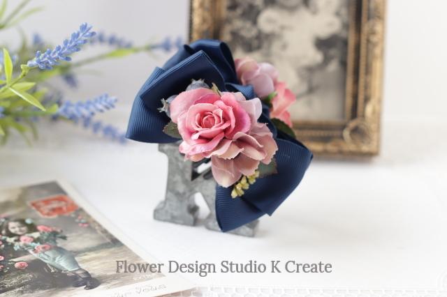 ピンクの薔薇とコスモスのバンスクリップ 髪飾り ヘアクリップ ピンク バラ お出掛け フォーマル