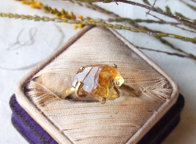 【一点物】原石のシトリンのリング