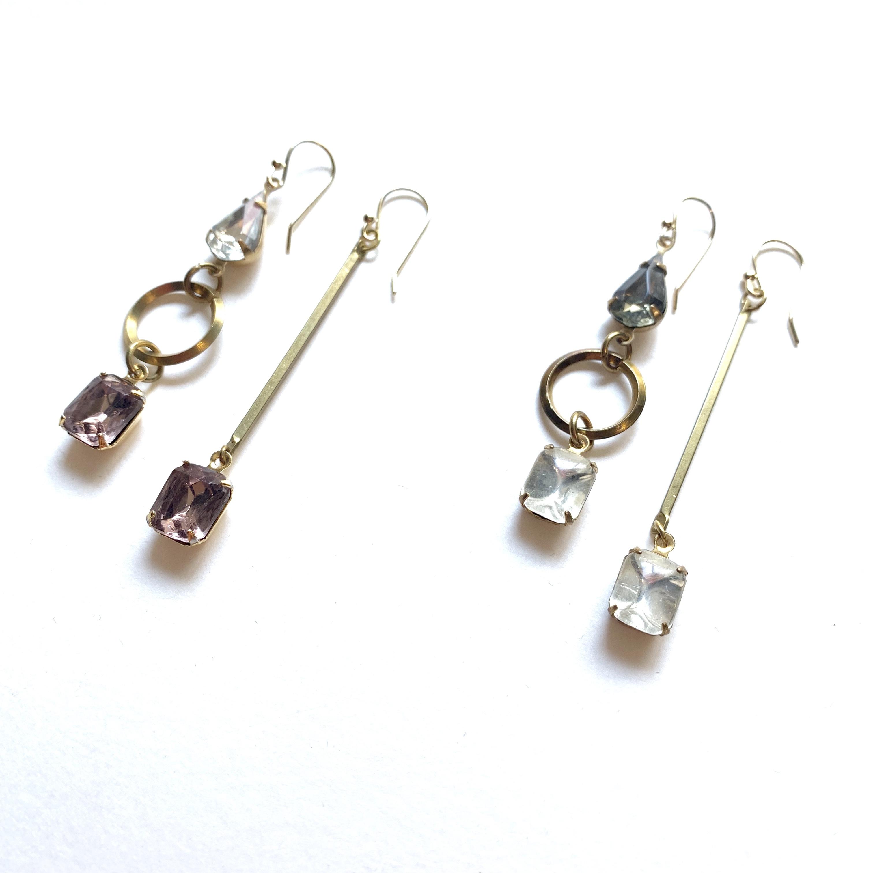 Antique glass drop earrings G-010