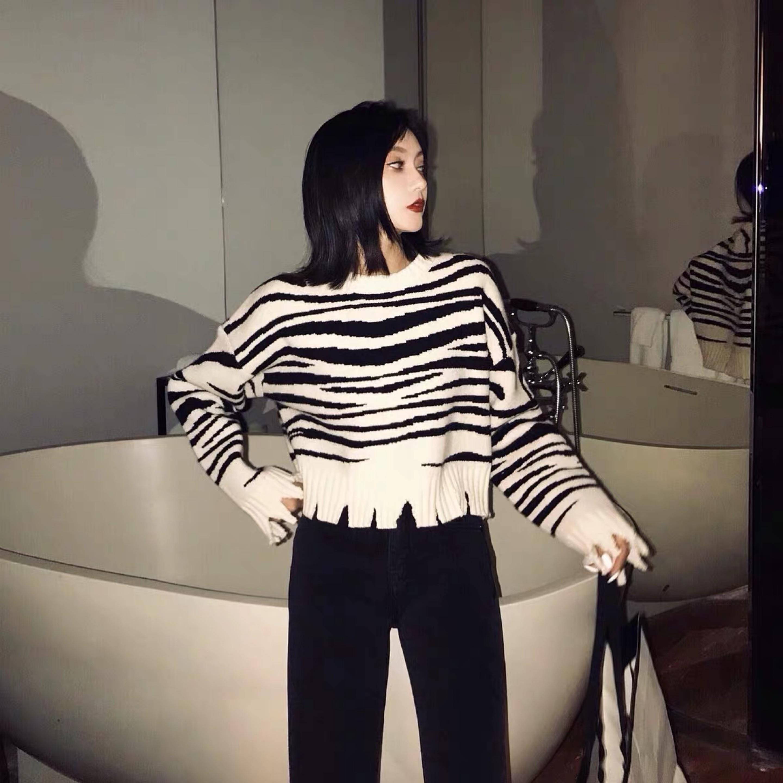 zebra pattern knit