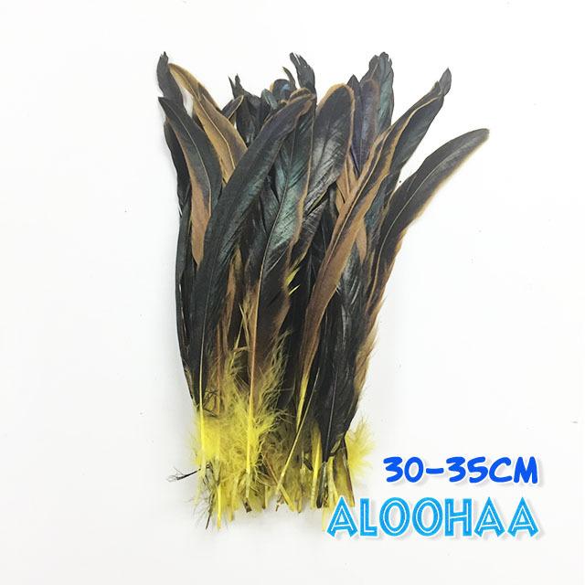 ロングフェザー 【黄色】30~35cm タヒチアン 衣装 材料 ルースターテール 染め 羽根