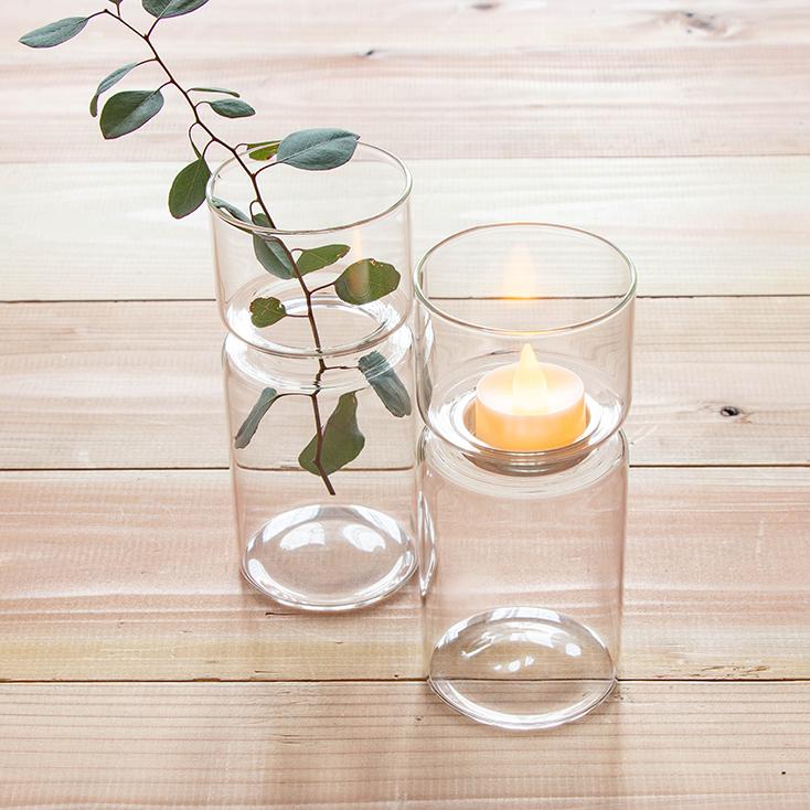シンプルなガラスのフラワーベース&キャンドルホルダーセット(ティーライトキャンドル付)