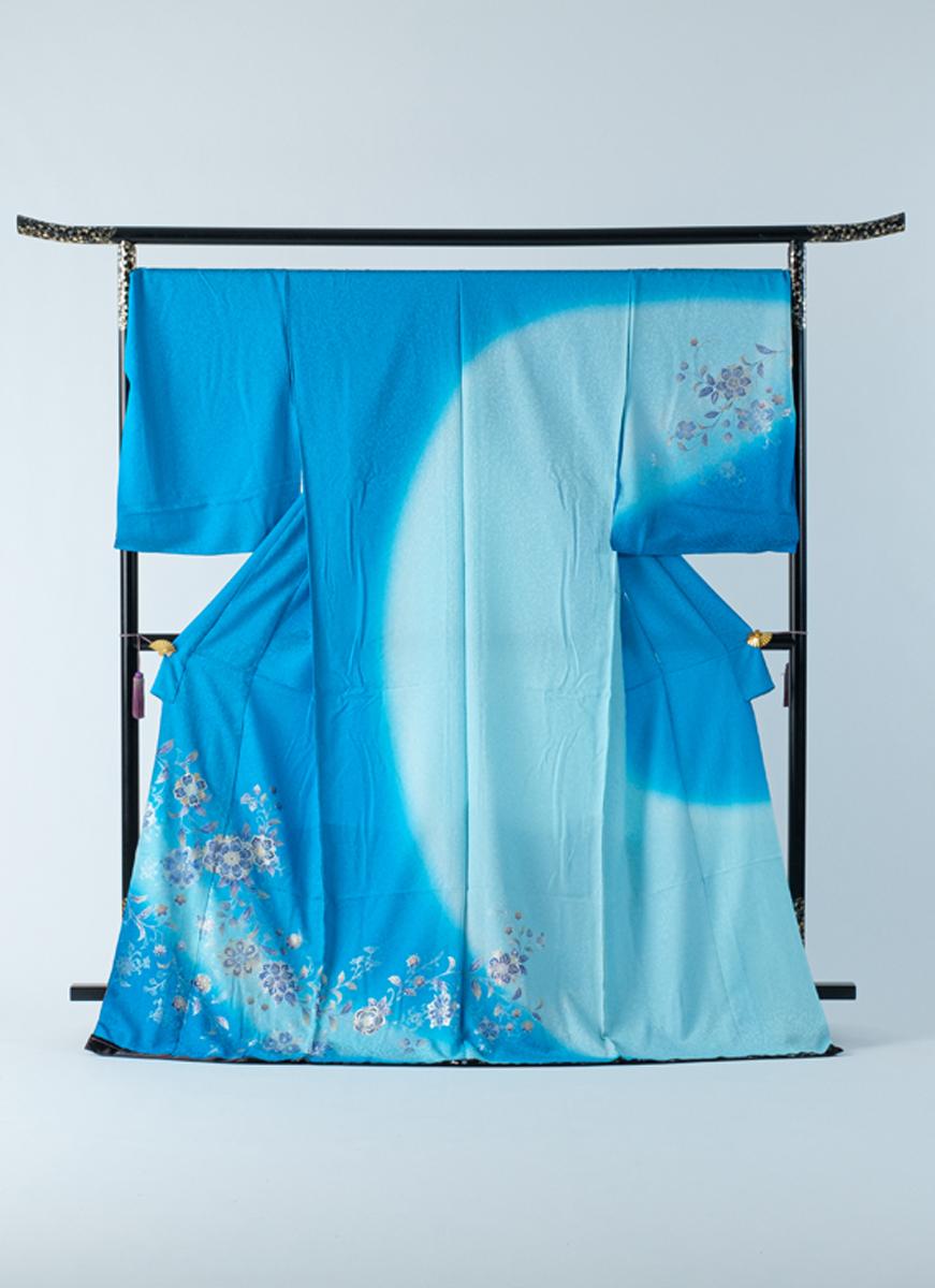 訪問着 青 水色 金彩 太田洋 ぼかし染 友禅染 フォーマル 冠婚葬祭やパーティに