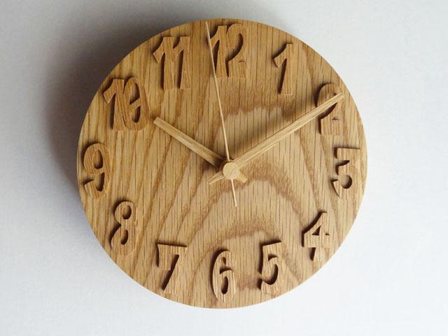 木の掛け時計/オーク/16cm/受注生産品/WC-OO16BS