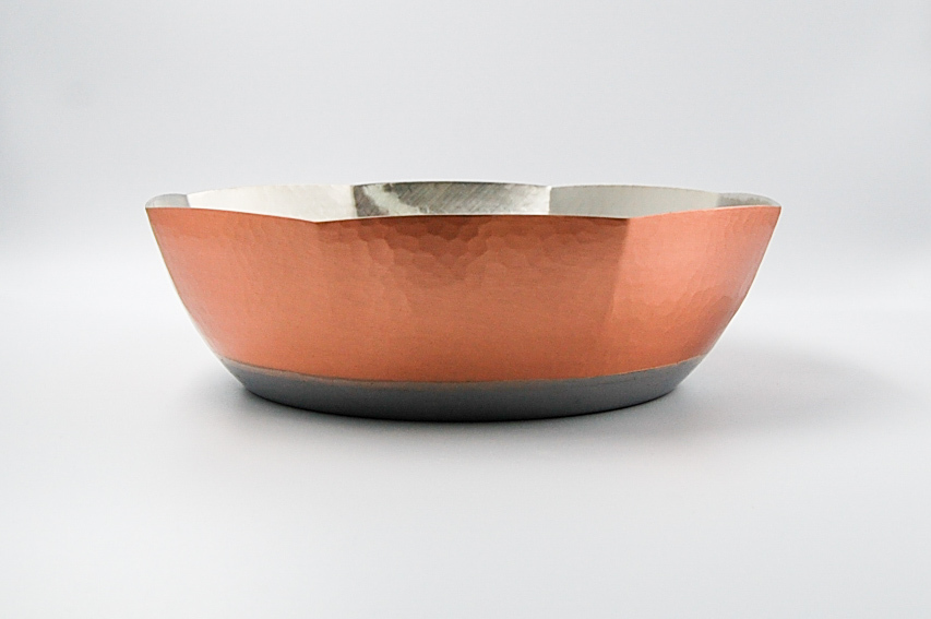 ◆受注生産◆  電磁用銅製槌目しゃぶ鍋8角24㎝