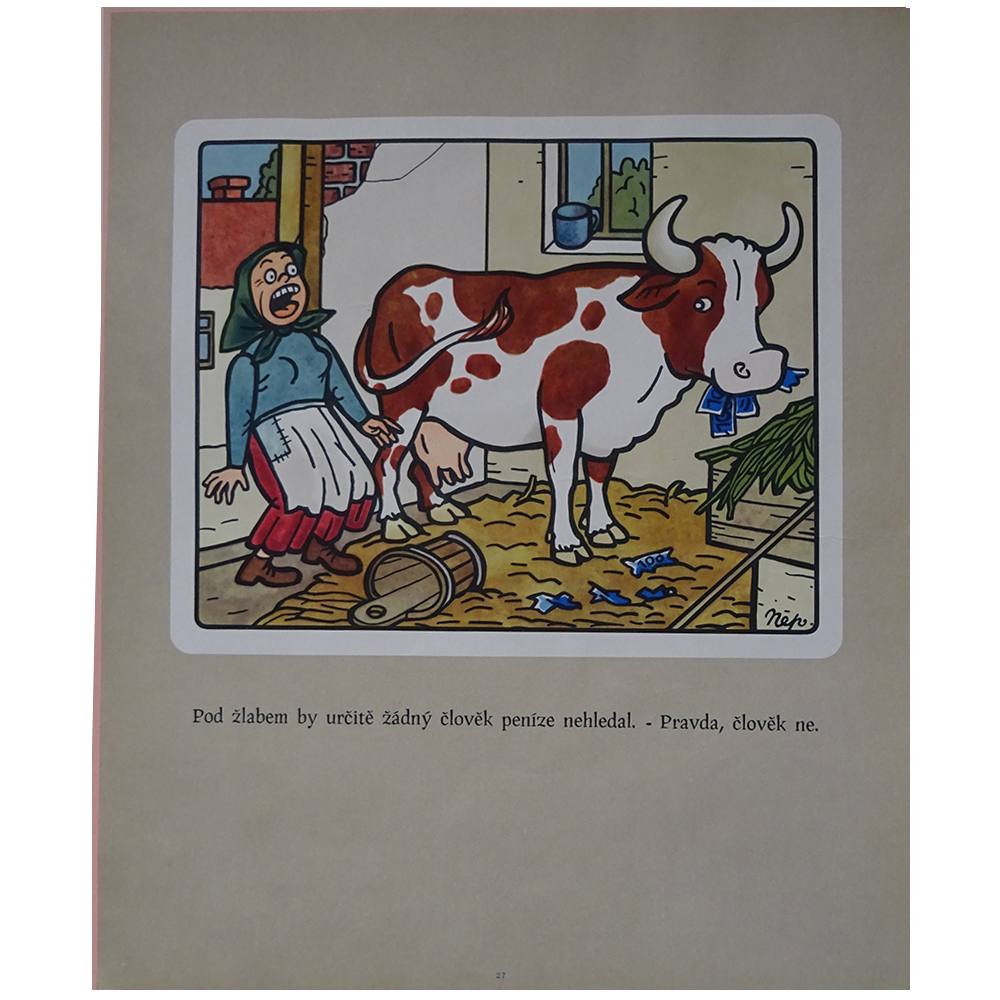 チェコ 古いポスター ネプラクタの絵つき小話 27 牛さん