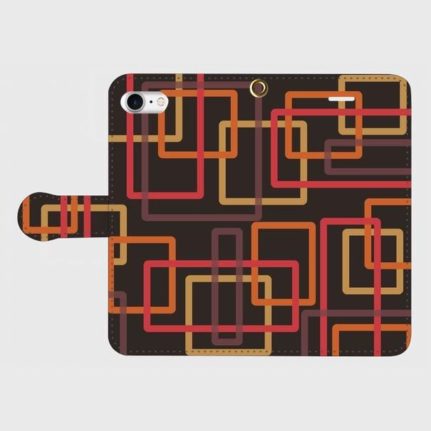 レトロパターン四角(黒・橙・薄橙・赤) / iPhoneスマホケース(手帳型ケース)