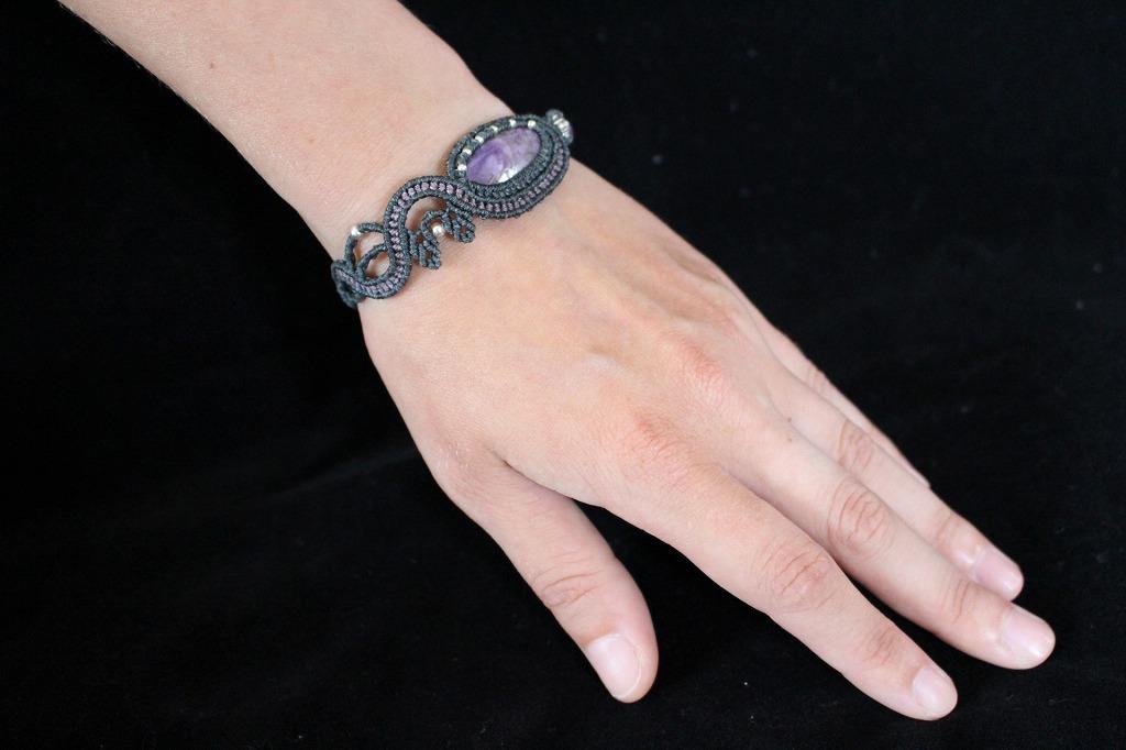 Charoite macrame bracelet