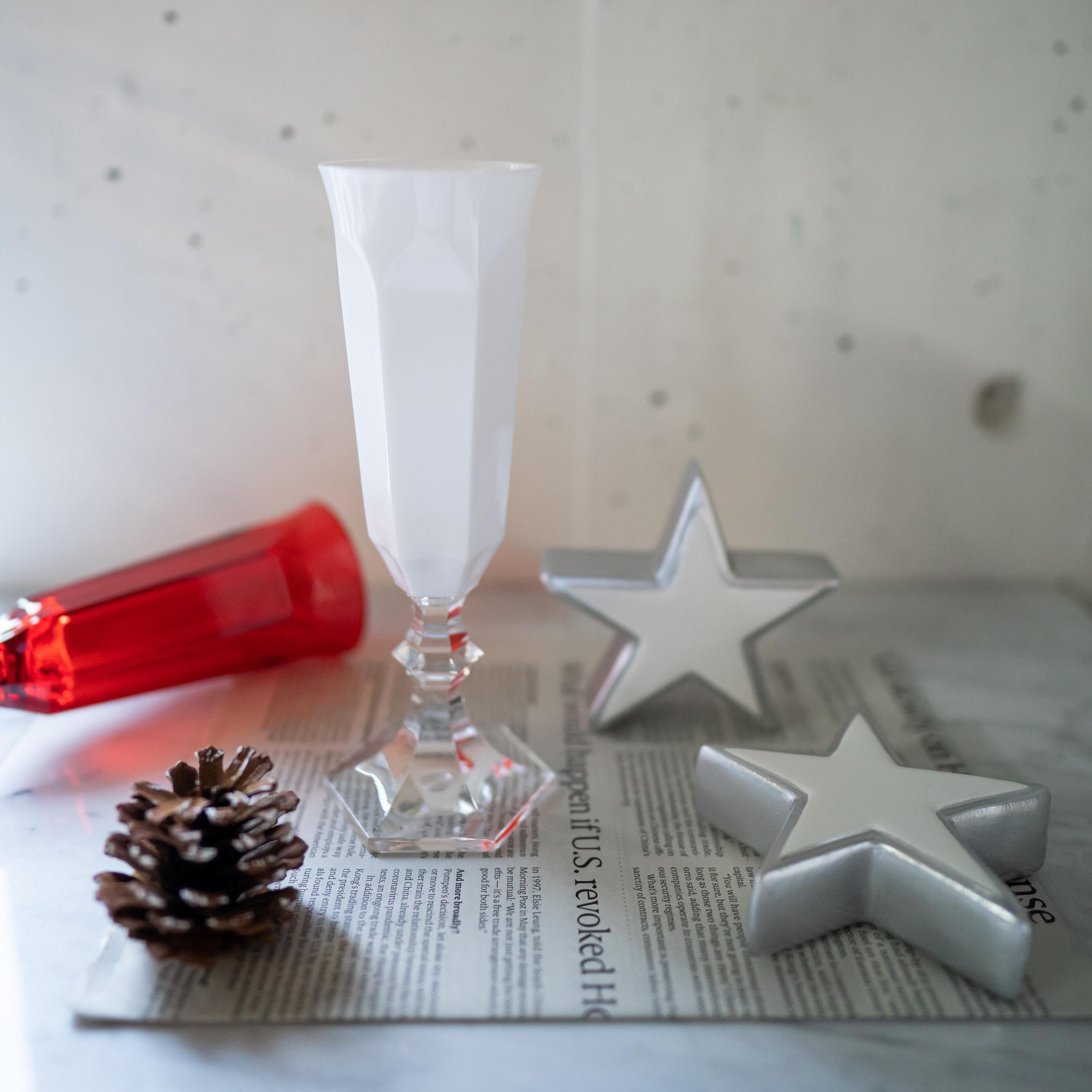 ドルチェ フルートグラス ホワイト/レッド
