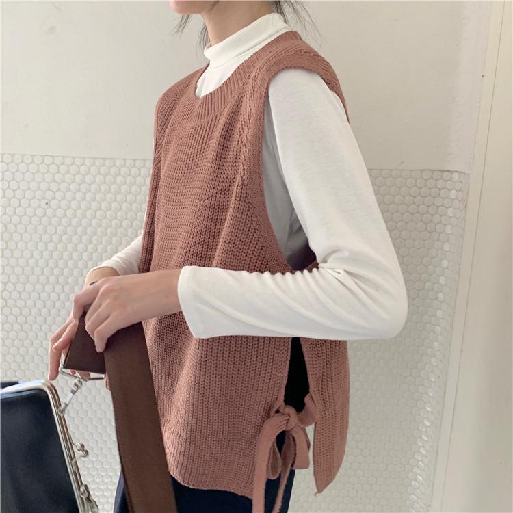 〈カフェシリーズ〉サイドリボンニットベスト【side ribbon knit vest】