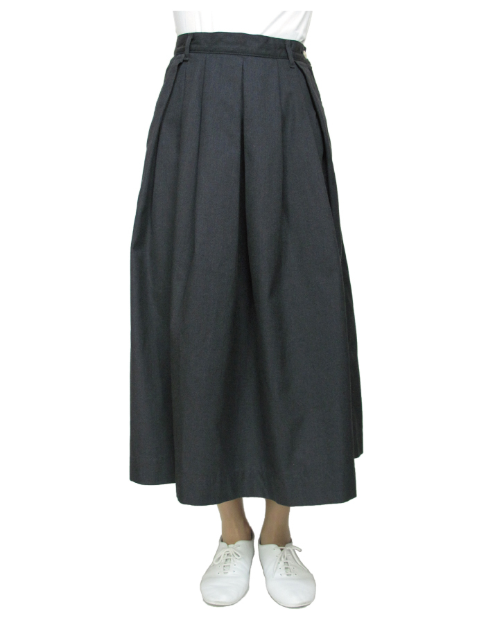 T/C chino long tuck-skirt Lot:35418 - 画像4