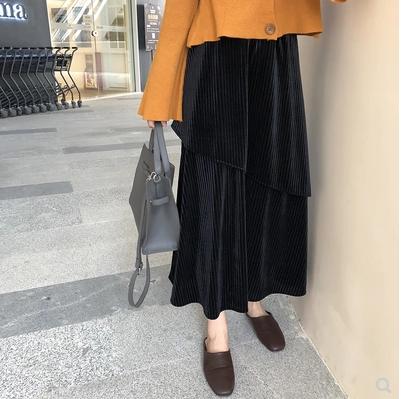 2018秋冬 ロングの丈感で大人っぽい雰囲気に★コーデュロイ スカート アシンメトリーデザイン ブラック