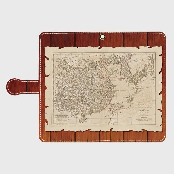 古地図木目調(1700年代)/Androidスマホケース(手帳型ケース)