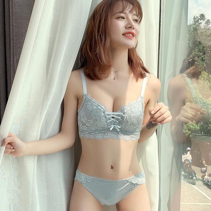 (A-C  カップ)【下着セット】セクシー刺繍ファッションスウィートレースブラ&ショーツセット30587334