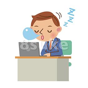 イラスト素材:デスクで居眠りをするビジネスマン(ベクター・JPG)