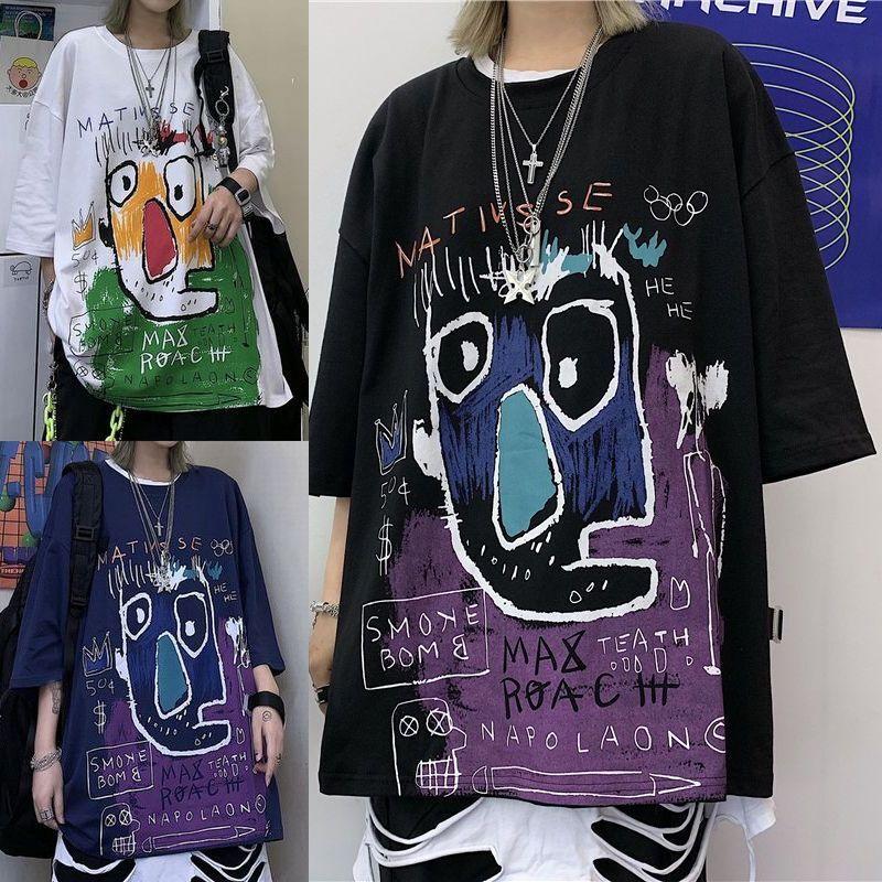 ユニセックス Tシャツ 半袖 メンズ レディース ラウンドネック 落書き風 グラフィティ プリント オーバーサイズ 大きいサイズ ルーズ ストリート