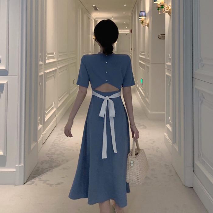 【dress】ファッションハイウエストリボン付きデートワンピース22269163
