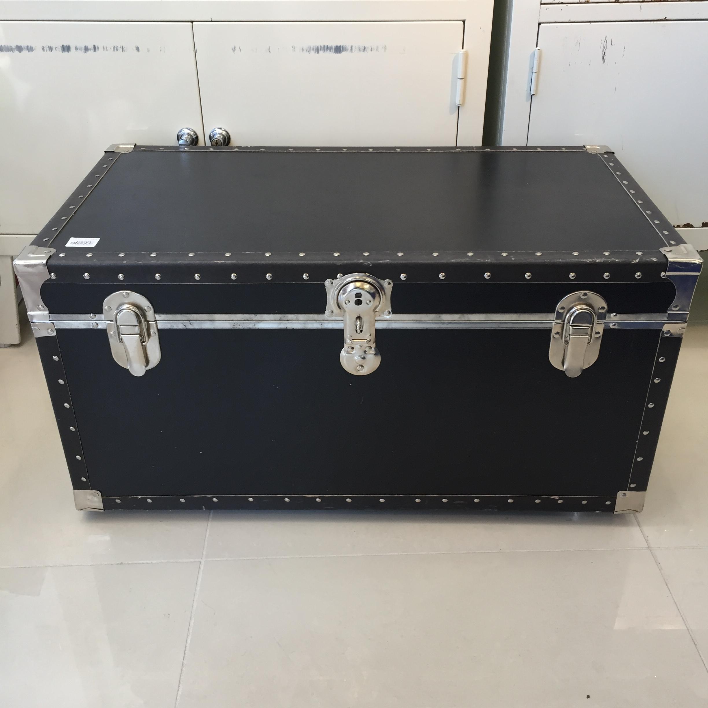 品番0758 トランク 収納 キャスター タイヤ付き ブラック 木製 ヴィンテージ
