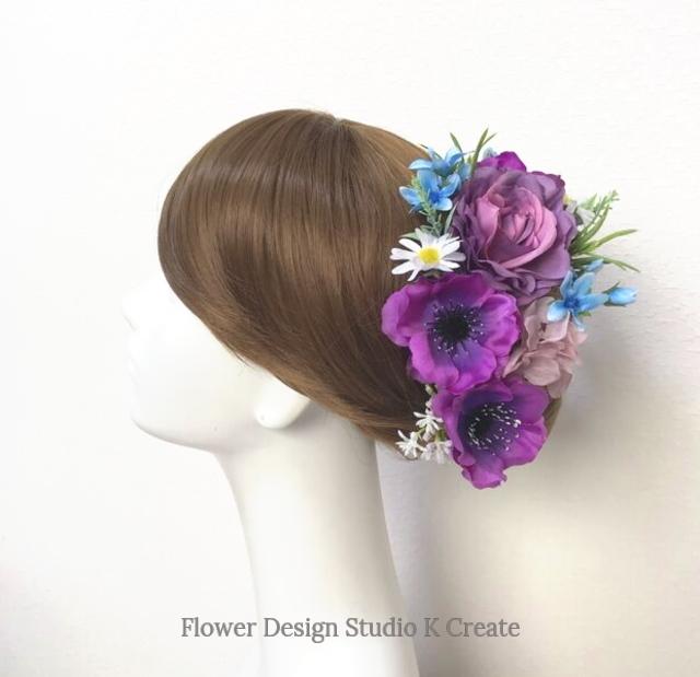 ウェディング・成人式に♡ラベンダー色の薔薇とアネモネのヘッドドレス(15本セット) 薔薇 デージー 結婚式 成人式