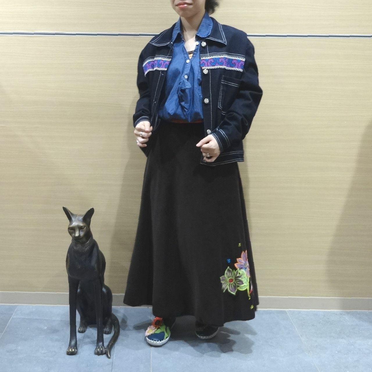 EMS-013BR 刺繍ベルベット・サリー 巻きスカート ダークブラウン