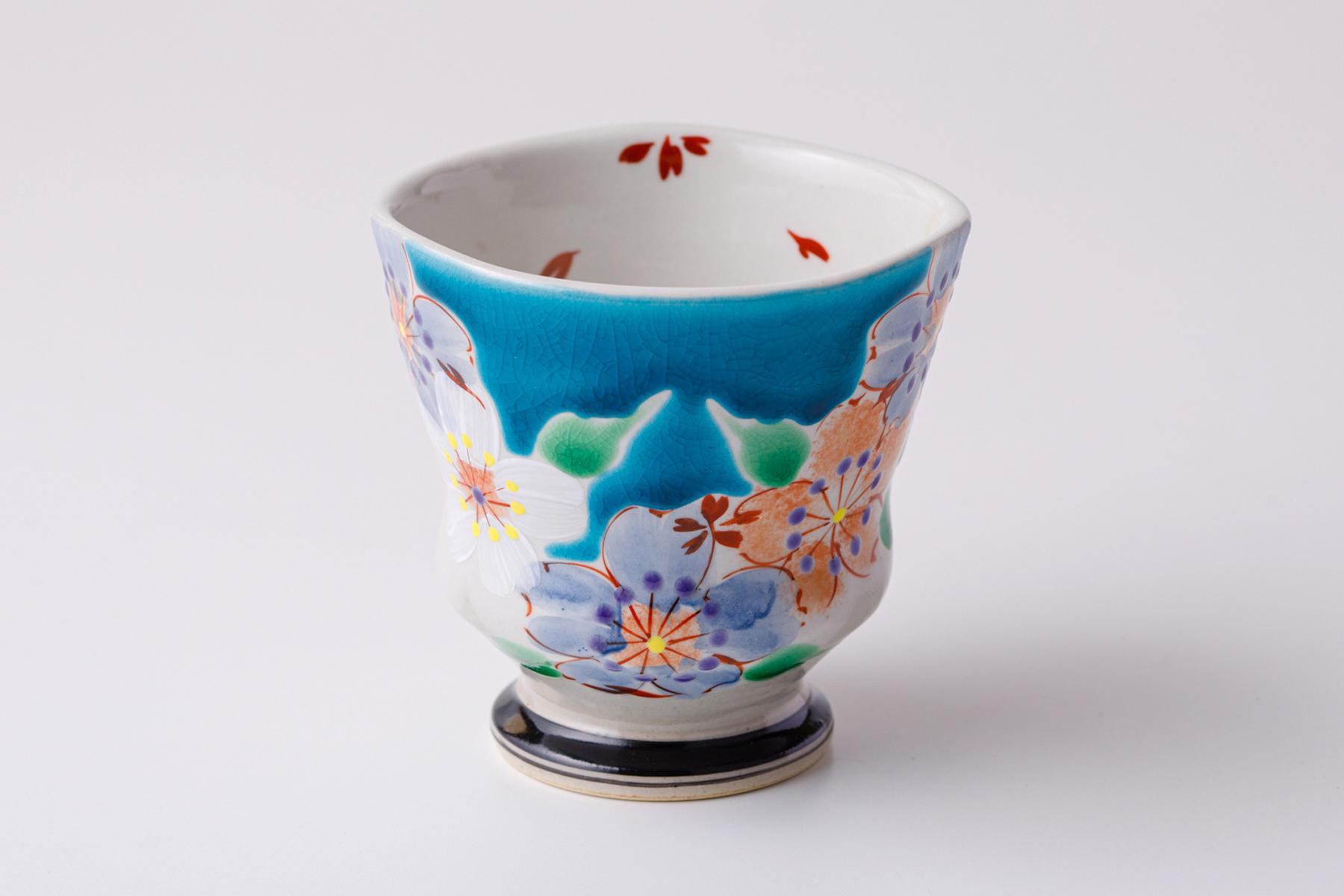 湯呑ペコ 桜の宴ブルー