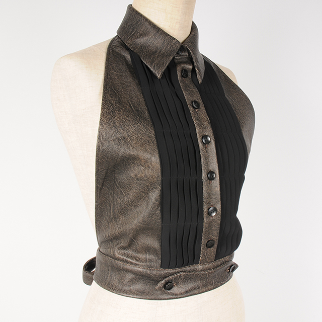 hs19SS-IR10 F/LEATHER GILET